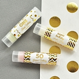 Event Blossom Personalized Metallic Foil Lip Balm Tubes (Birthday)