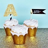 Metallic Foil Scalloped Edge Cupcake Wraps (Set of 12)