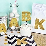 Gold Glitter Monogram Letter Stickers (Set of 24)