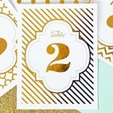 Glamorous Gold or Silver Foil Table Numbers (Numbers 1 - 12)
