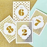 Glittering Gold or Silver Foil Table Numbers (Numbers 1 - 24)