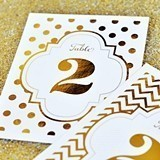 Glitzy Gold or Shiny Silver Foil Table Numbers (Numbers 1 - 48)