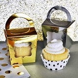 Metallic Gold & Silver Cupcake Tote Boxes (Set of 12)