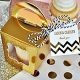 Metallic Gold & Silver Cupcake Totes w/ Personalized Tags (Set of 12)