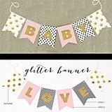 Personalized Gold Glitter Baby Shower Banner (3 Sizes)
