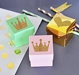 Gold or Silver Glitter Tiara-Shaped Stickers (Set of 24)