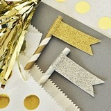 Gold or Silver Glitter Flag Labels (Set of 24)
