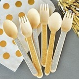 Gold Glitter or Silver Sparkle Spoons & Forks (2 Colors) (Set of 24)