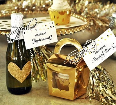 Will You Be My Bridesmaid/MOH? Gold Foil Tags & Tassels (Set of 6)
