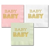 Metallic-Gold-Stamped BABY Shower Party Napkins (3 Colors)(Set of 25)
