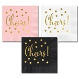 Metallic-Gold-Stamped CHEERS Party Napkins (3 Colors) (Set of 25)