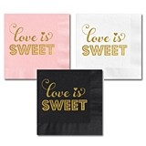 Gold-Stamped LOVE IS SWEET Party Napkins (3 Colors) (Set of 25)