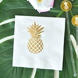Metallic-Gold-Stamped Pineapple Design Napkins (2 Colors) (Set of 25)