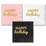 Gold-Stamped HAPPY BIRTHDAY Party Napkins (3 Colors) (Set of 25)