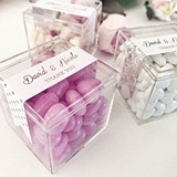 Personalized Acrylic Favor Boxes with Patterned Metallic Foil Labels