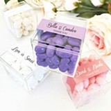Acrylic Favor Boxes with Personalized Belly-Band Labels (10 Colors)