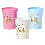 Gold-Printed Oh Baby Shower Plastic Party Cups (3 Colors) (Set of 25)