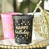 Gold-Printed HAPPY BIRTHDAY Plastic Party Cups (3 Colors) (Set of 25)