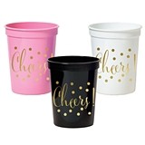 Gold-Printed CHEERS Plastic Party Cups (3 Colors) (Set of 25)