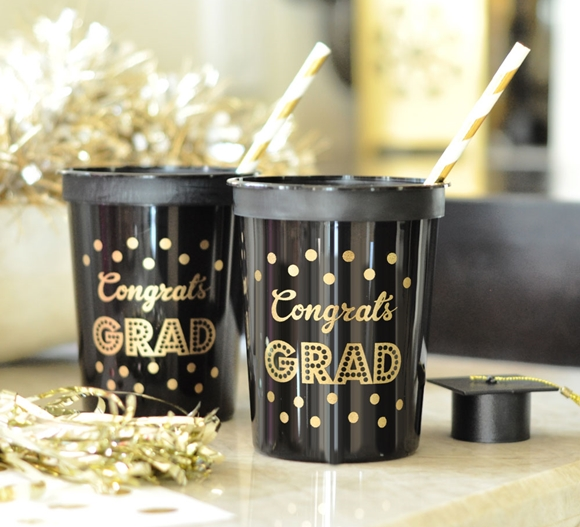 Gold & Black Graduation BPA-Free Plastic Party Cups (Set of 25)