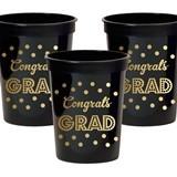 Gold & Black Graduation BPA-Free Plastic Party Cups (Set of 25)