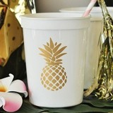 Metallic-Gold-Stamped Pineapple Design White Party Cups (Set of 25)