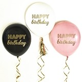 Metallic-Gold 'HAPPY birthday' Party Balloons (5 Colors) (Set of 3)