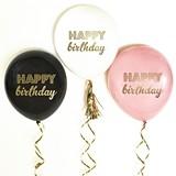 Metallic-Gold 'HAPPY birthday' Party Balloons (5 Colors) (Set of 3)