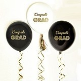 Metallic-Gold 'Congrats GRAD' Party Balloons (2 Colors) (Set of 3)
