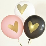 Event Blossom Metallic-Gold Heart Party Balloons (5 Colors) (Set of 3)