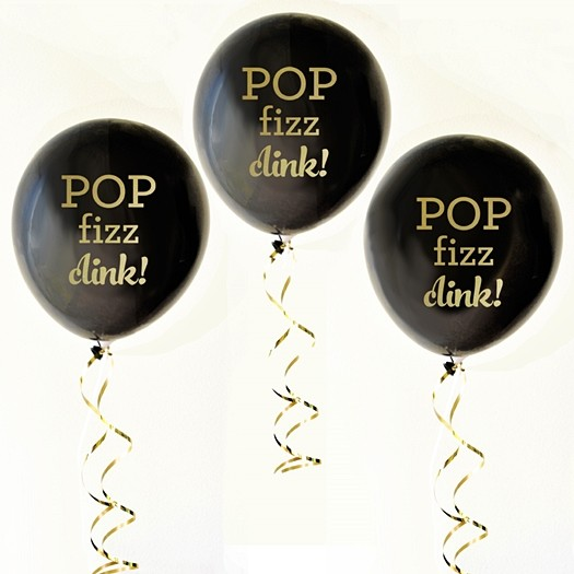 Event Blossom Black & Gold 'Pop Fizz Clink!' Party Balloons (Set of 3)