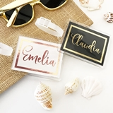 Event Blossom Personalized Metallic Foil Luggage Tag with Script Name