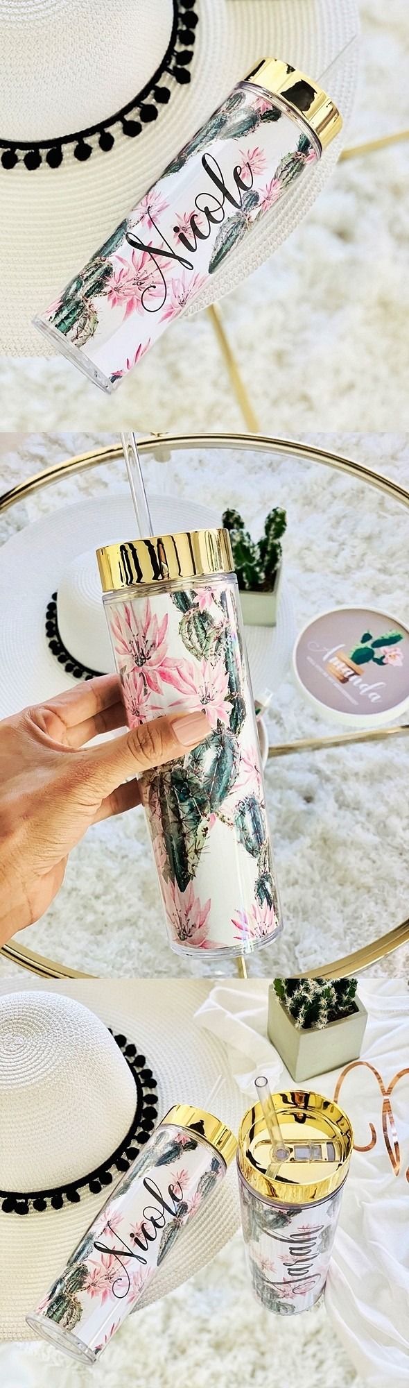 Event Blossom Cactus Design Personalized Tumbler with Gold Lid & Straw