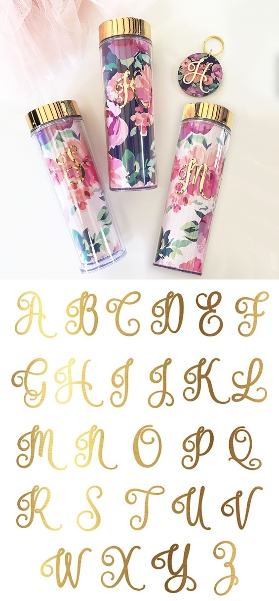 Event Blossom Gold Foil Monogram Floral Tumbler with Lid & Straw