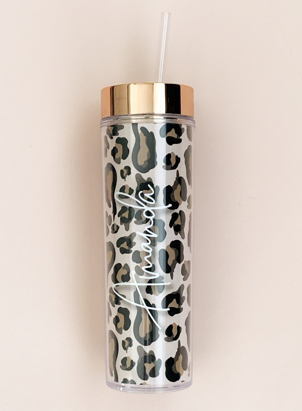 Event Blossom Personalized Leopard Print Tumbler with Lid & Straw