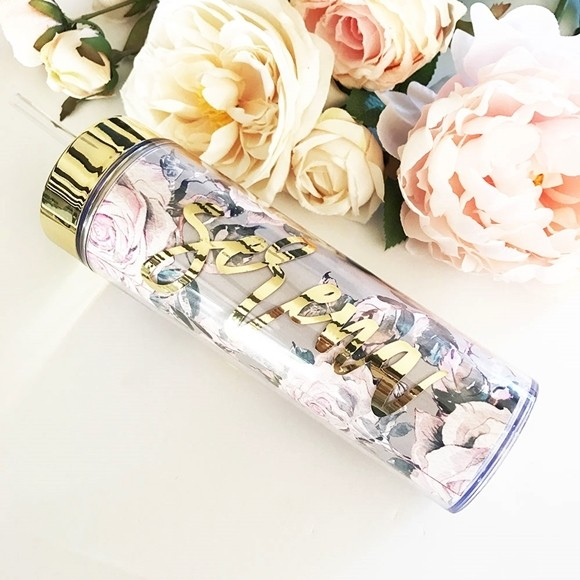 Personalized Rose Garden Tumbler w/ Gold Foil Script Name, Lid & Straw