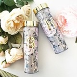 Event Blossom Gold Foil Monogram Rose Garden Tumbler with Lid & Straw