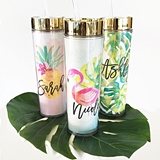 Personalized Tropical Beach Tall Tumbler with Lid & Straw (4 Designs)