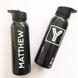 Event Blossom Personalizable Glossy Black BPA-Free 24 oz Sports Bottle