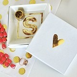Event Blossom Gold Monogram White Ceramic Ring Dish