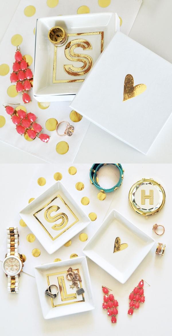 Event Blossom Gold Monogram White Ceramic Ring Dish