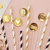 Event Blossom Metallic Foil Personalized Drink Stirrers (Set of 25)