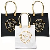 Bride Tribe Tote Bag w/ Arrowed Wreath Design in Gold Foil (2 Colors)