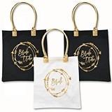 Bride Tribe Tote Bag w/ Arrowed Wreath Design in Gold Foil (2 Colors)