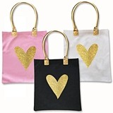 Event Blossom Stylized Glitter Heart Design Canvas Tote Bag (3 Colors)