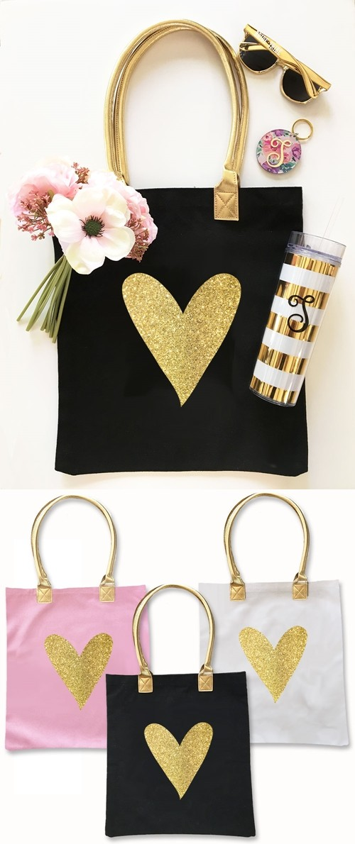 Event Blossom Stylized Glitter Heart Design Canvas Tote Bag (3 Colors)