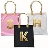 Event Blossom Modern Gold Monogram Canvas Tote Bag (3 Colors)