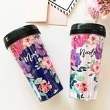 Event Blossom Floral Coffee Tumbler with Name in Modern Script