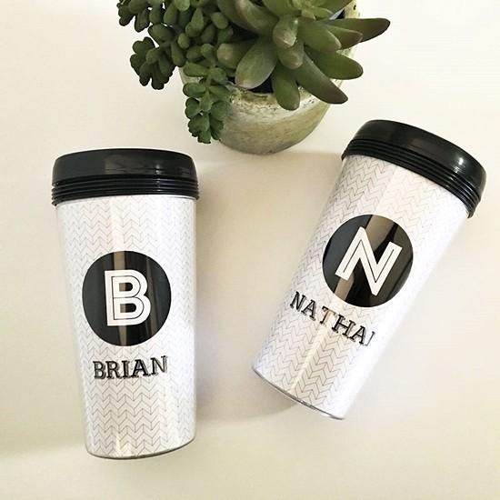 Event Blossom Personalized Black & White Travel Coffee Mug