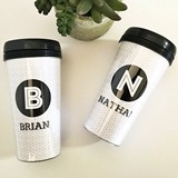 Event Blossom Personalized Black & White Travel Coffee Mug